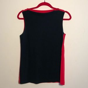 DKNY bi colored red and black sleeveless top